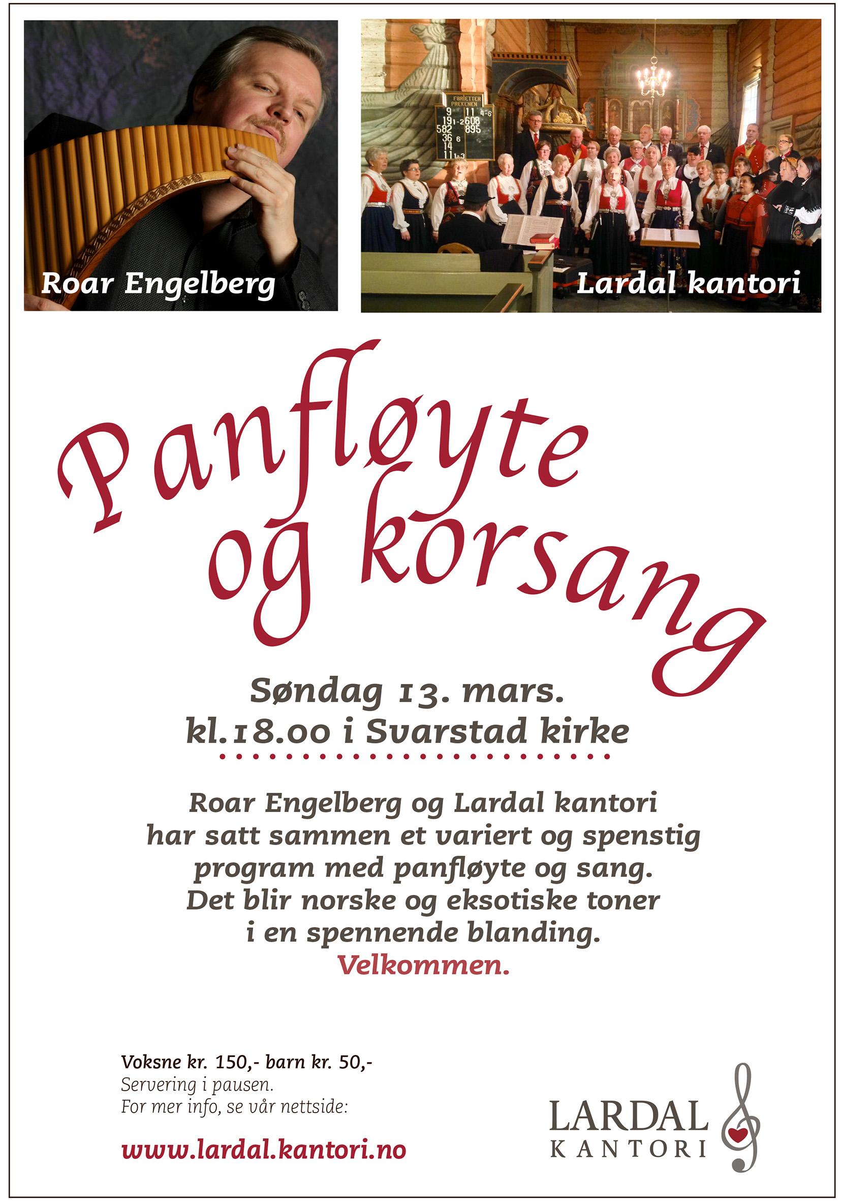 Konsertplakat Roar Engelberg og Lardal kantori